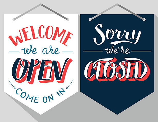 open and closed hand lettered signs - open sign stock illustrations