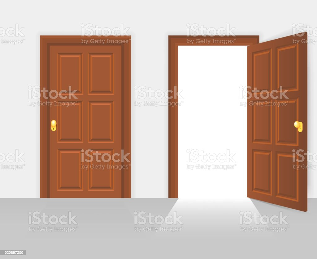 house front door open. Open And Closed House Front Door Vector Illustration Royalty-free