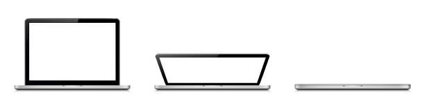 stockillustraties, clipart, cartoons en iconen met open en gesloten laptop. openings stadia van de laptop deksel - dicht
