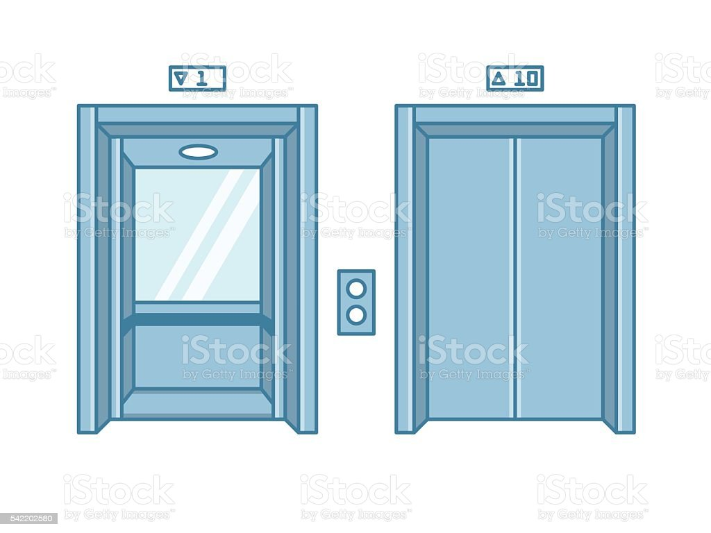 Open and closed line flat office building elevator doors. vector art illustration