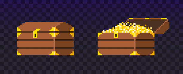 Open and closed pixel treasure chest. Open and closed Pixel treasure chest. Chest filled with coins for video game. Shine gold money. Wealth. Vector illustration isolated on dark background. antiquities stock illustrations