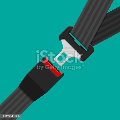 Open and closed safety belt. Seat belt for protection. Lifesaver. Safety equipment for car and plane. Vector illustration in flat style