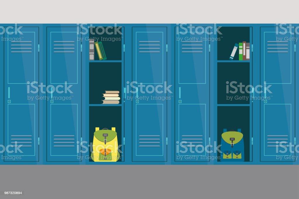 オープンとクローズの学校のロッカー、学校インテリア、家具 ベクターアートイラスト