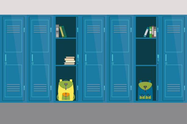 illustrations, cliparts, dessins animés et icônes de les casiers scolaires ouverts et fermés, de meubles et d'intérieur de l'école - lycée