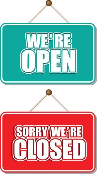 illustrazioni stock, clip art, cartoni animati e icone di tendenza di open and closed sign - cartello chiuso