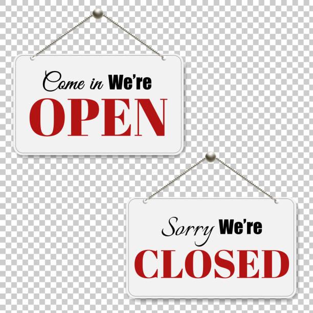 illustrazioni stock, clip art, cartoni animati e icone di tendenza di open and closed signs set transparent background - cartello chiuso