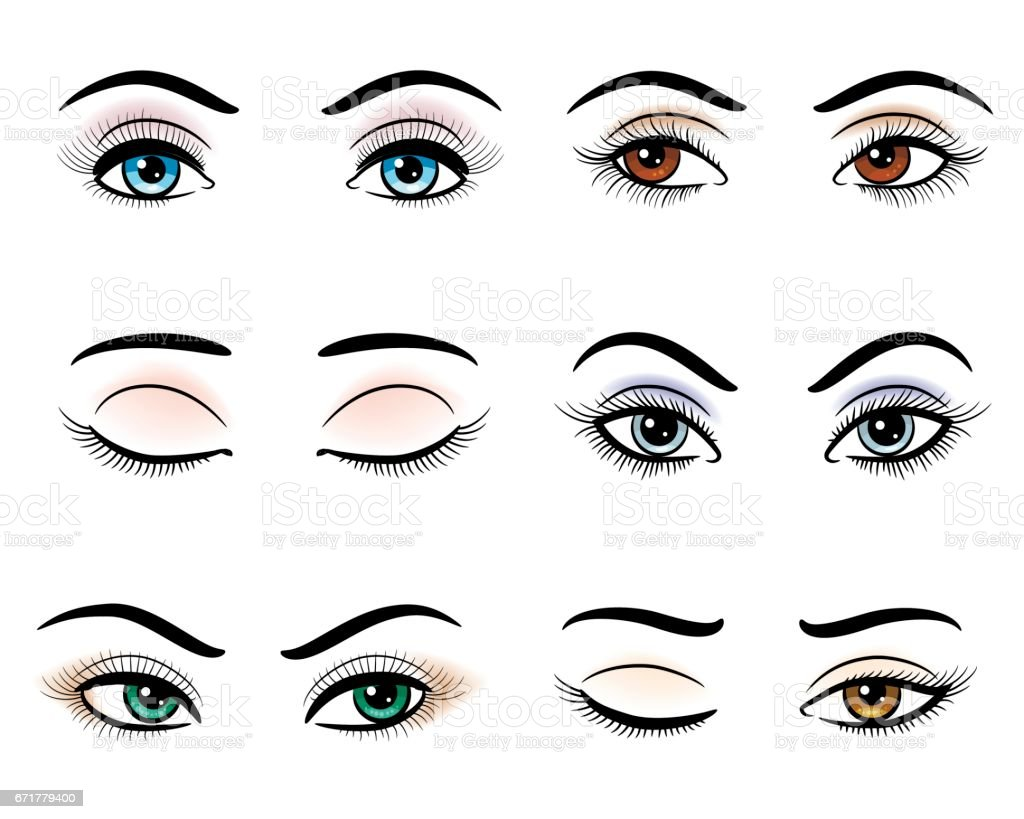 Offene und geschlossene Augen – Vektorgrafik