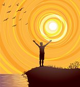 Vector illustration of a beautiful orange sunset with a masculine figure with open arms celebrating the joy of nature, cliff over the sea