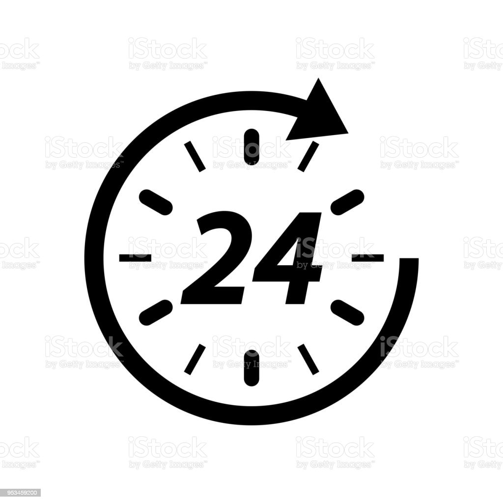 Open around the clock hours a day icon. vector art illustration