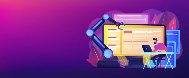Open automation architecture concept banner header. Open automation architecture, open source robotics soft, free development concept. Header or footer banner template with copy space. automated stock illustrations