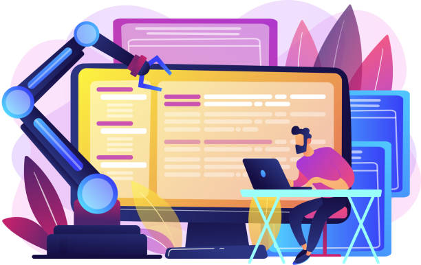 Open automation architecture concept vector illustration. Developer at laptop and computer with open robotic soft. Open automation architecture, open source robotics soft, free development concept. Bright vibrant violet vector isolated illustration receiving stock illustrations