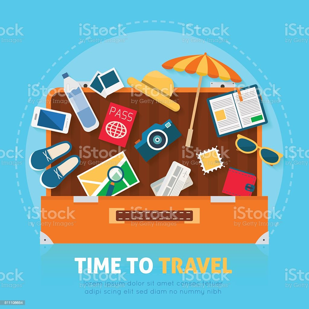 Open baggage with travel icons and objects