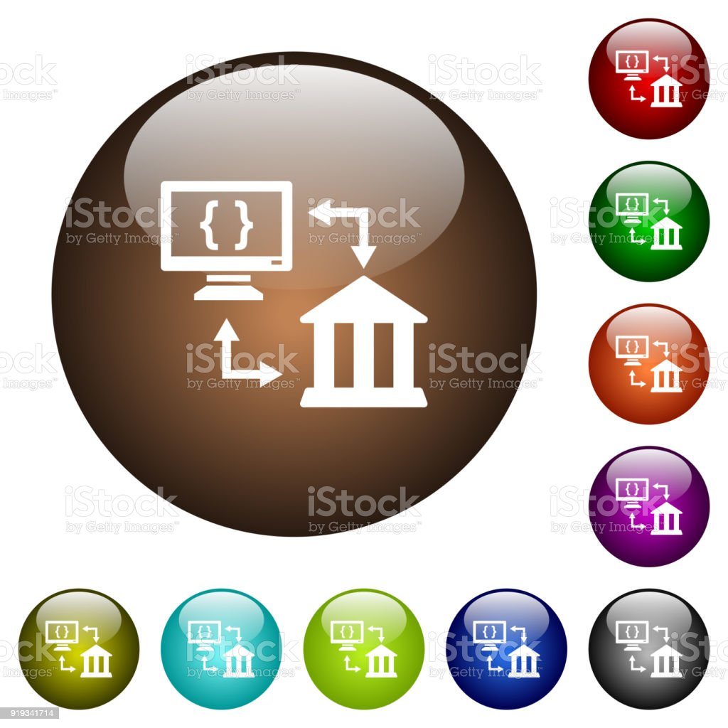open banking api color glass buttons stock vector art more images