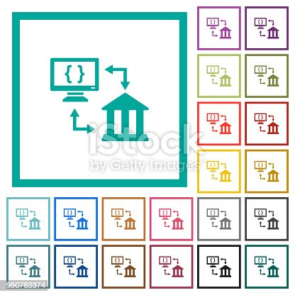 Open banking API flat color icons with quadrant frames on white background
