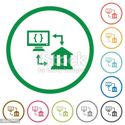 Open banking API flat color icons in round outlines on white background