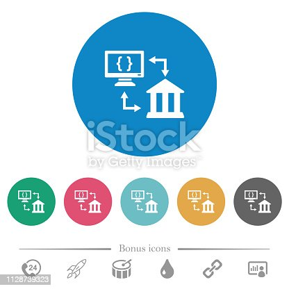 Open banking API flat white icons on round color backgrounds. 6 bonus icons included.