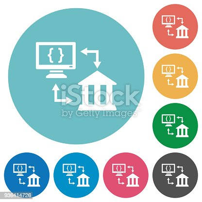 Open banking API flat white icons on round color backgrounds