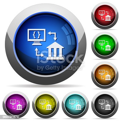 Open banking API icons in round glossy buttons with steel frames
