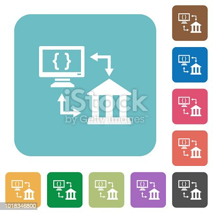 Open banking API white flat icons on color rounded square backgrounds