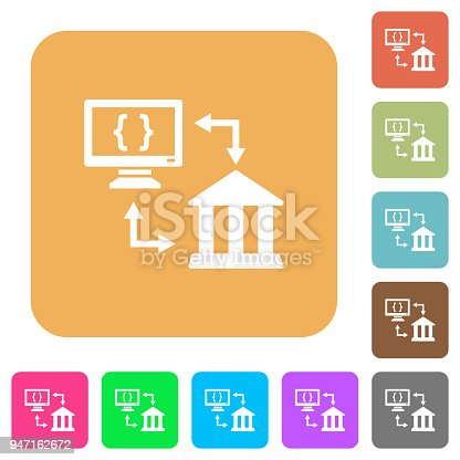 Open banking API flat icons on rounded square vivid color backgrounds.