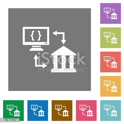 Open banking API flat icons on simple color square backgrounds