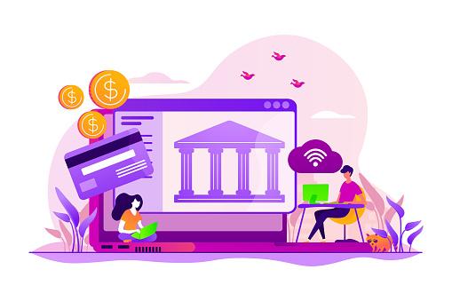 Open banking platform concept vector illustration