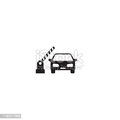 Open barrier, car vector icon on white
