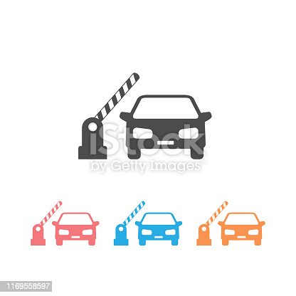 Open barrier, car vector icon set on white