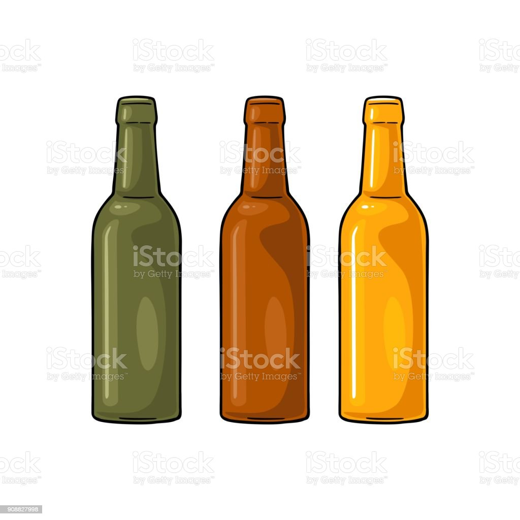 Open beer bottles with green, yellow and brown glass vector art illustration