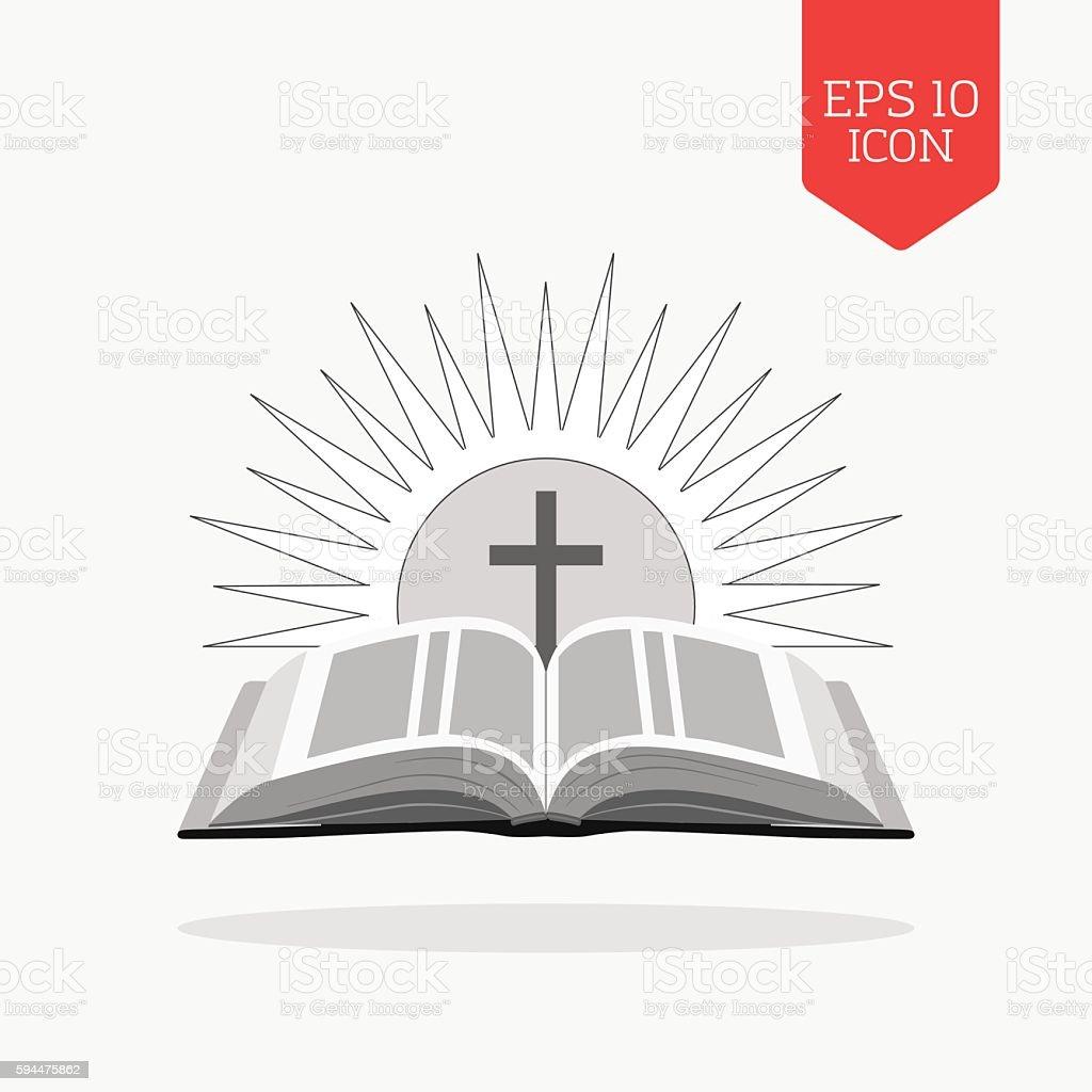 Open bible with sun and cross icon. Church logo concept. - ilustración de arte vectorial