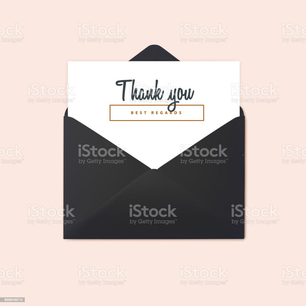 Open black envelope vector mockup thank you message and black letter open black envelope vector mockup thank you message and black letter design template spiritdancerdesigns Images