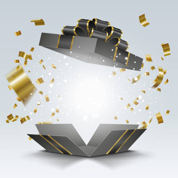 Open black gift box with golden confetti for black friday sale Vector EPS 10 format. anniversary backgrounds stock illustrations