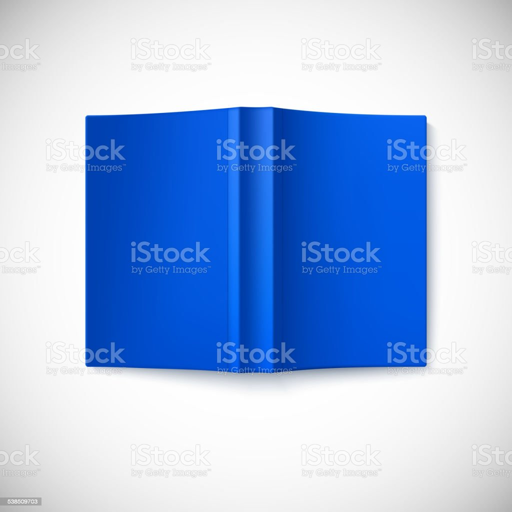 Open blank book cover, top view. vector art illustration