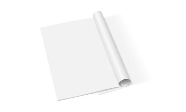 illustrations, cliparts, dessins animés et icônes de magazine blanc ouvert isolé sur le fond blanc - ellen page
