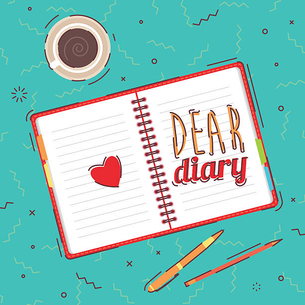 Open blank notepad background view from above Open blank notepad, pens and coffee on background. View from above diary stock illustrations