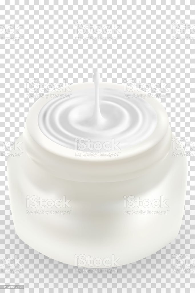 Open blank realistic cosmetic container, white plastic jar with cream. vector art illustration