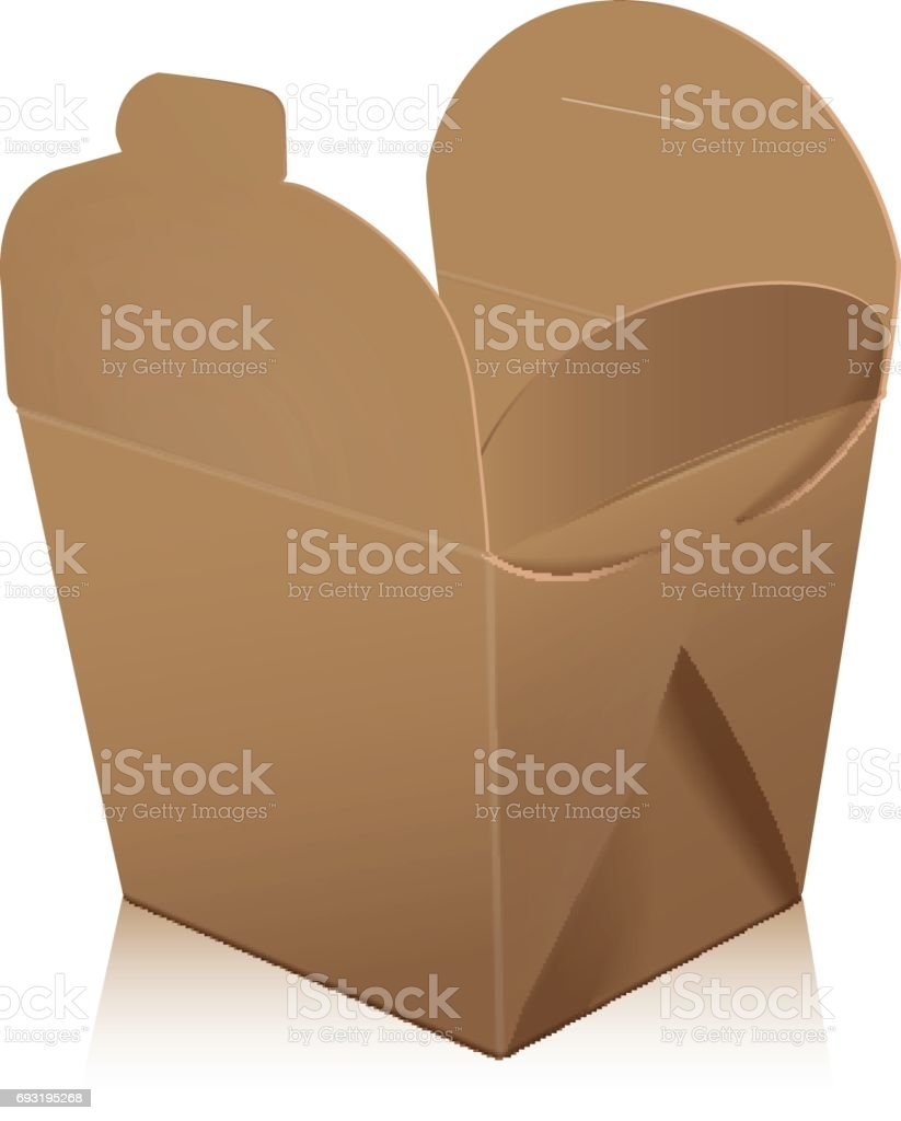 b6c6d5cca5e8 Open blank wok takeout box mockup. Vector 3d packaging. Carton box for asian  or chinese take away food paper bag - Illustration .