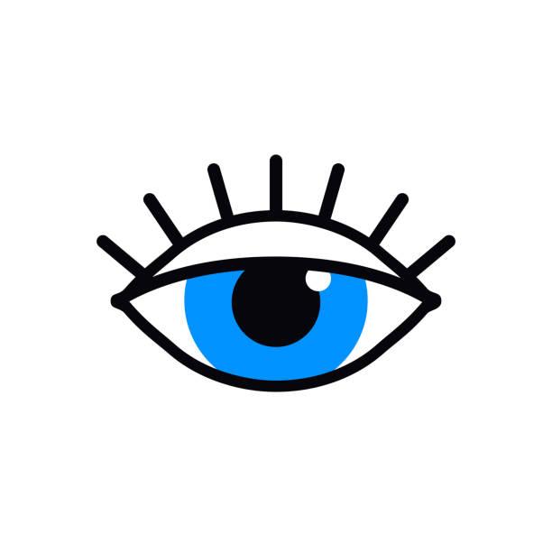 stockillustraties, clipart, cartoons en iconen met open het pictogram van de blauwe ogen lijn op witte achtergrond. kijk, zie, zicht, bekijk teken en symbool. vector lineair grafisch element. optisch en zoek thema in een minimale ontwerp stijl. oog met wimpers. - wegkijken