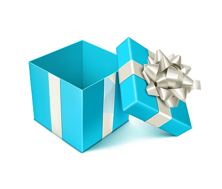 Open Blue Gift Bow with Silver Bow