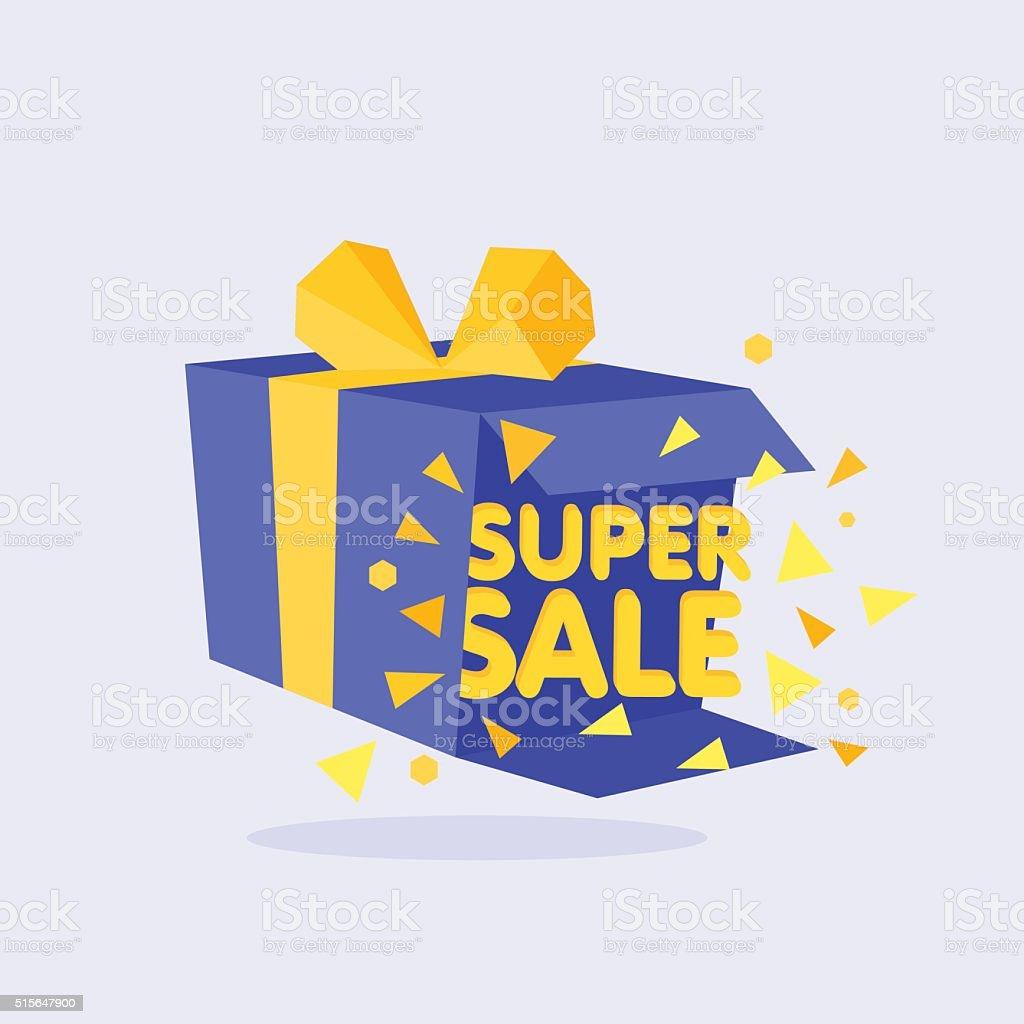 Open Blue Gift Box and Confetti. Sale Background. vector art illustration
