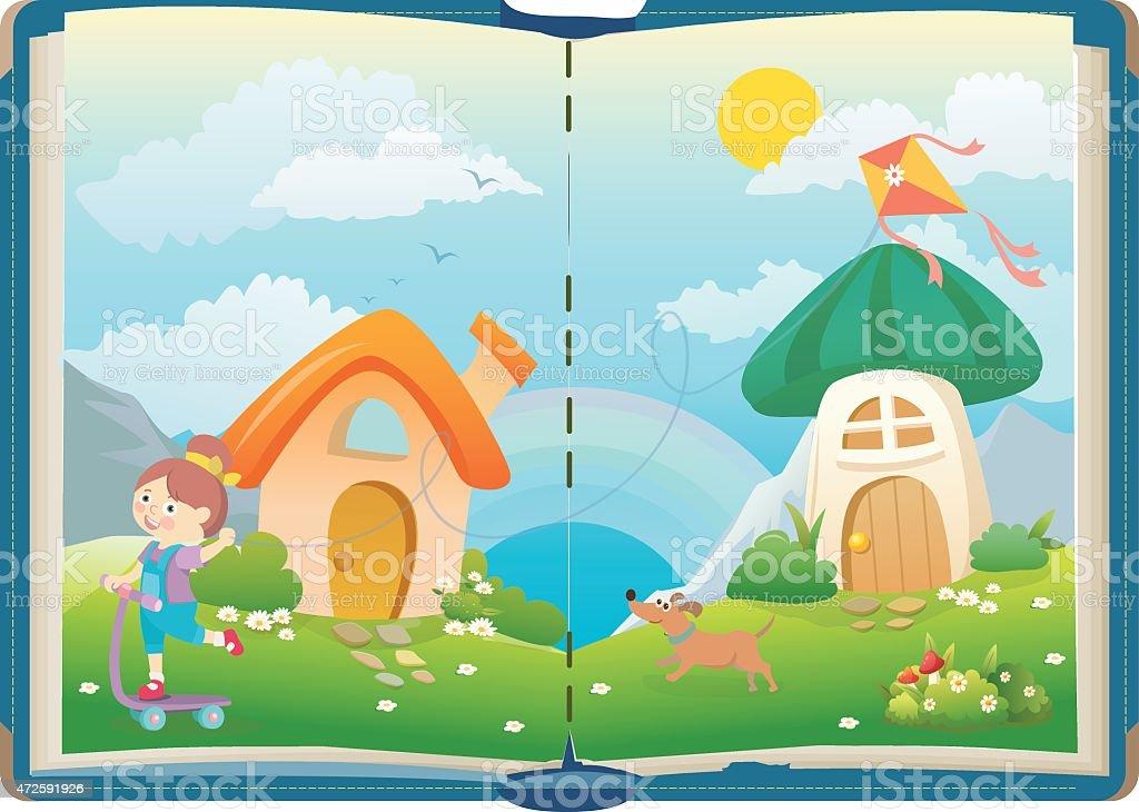 Abrir libro sobre divertido chicas y mágico mundo ilustración de abrir  libro sobre divertido chicas y 38d9145272b