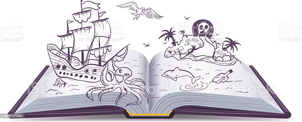 Open book Adventure. Treasures, pirates, sailing ships, adventure. Reading fantasy vector art illustration