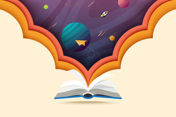 Open book and explore to outer space concept of learning and education. vector art illustration