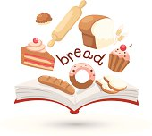 Open book and icons of bread. Concept of education