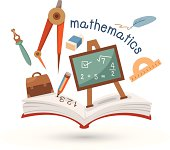 Open book and icons of mathematics vector