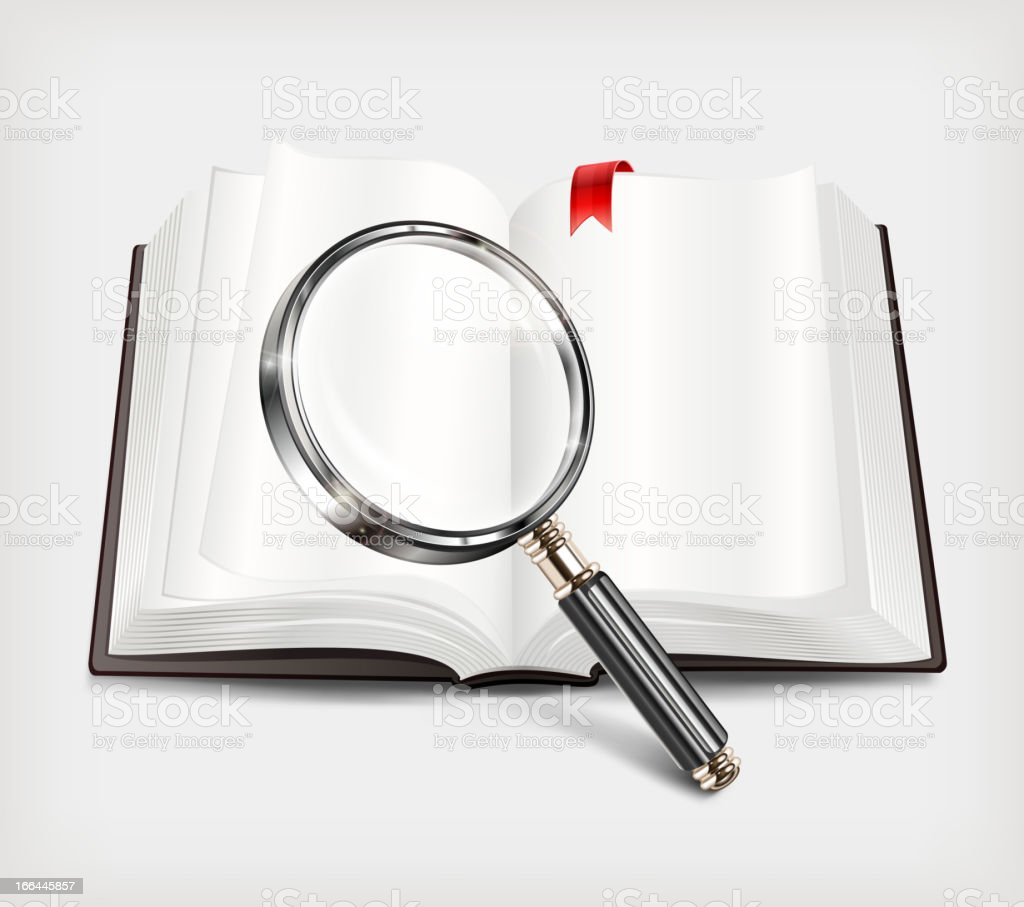 Open book and magnifying glass on white royalty-free open book and magnifying glass on white stock vector art & more images of book