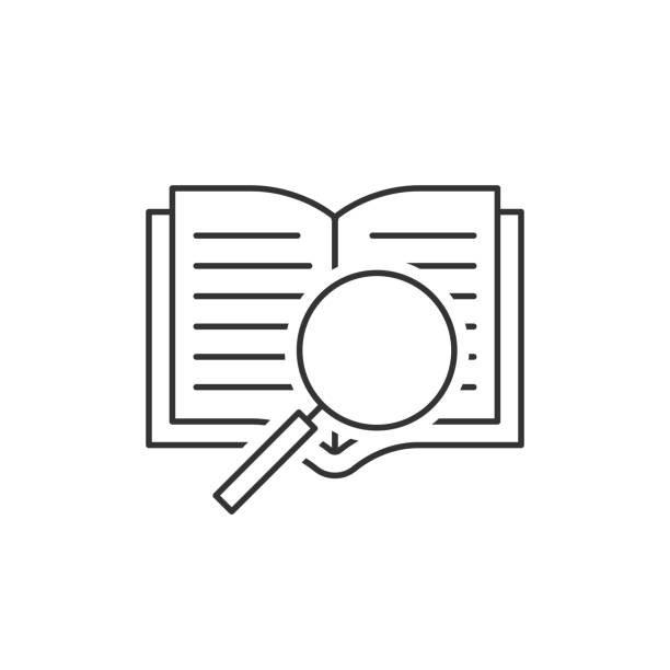 Open book and magnifying glass Open book and magnifying glass outline icon dictionary stock illustrations