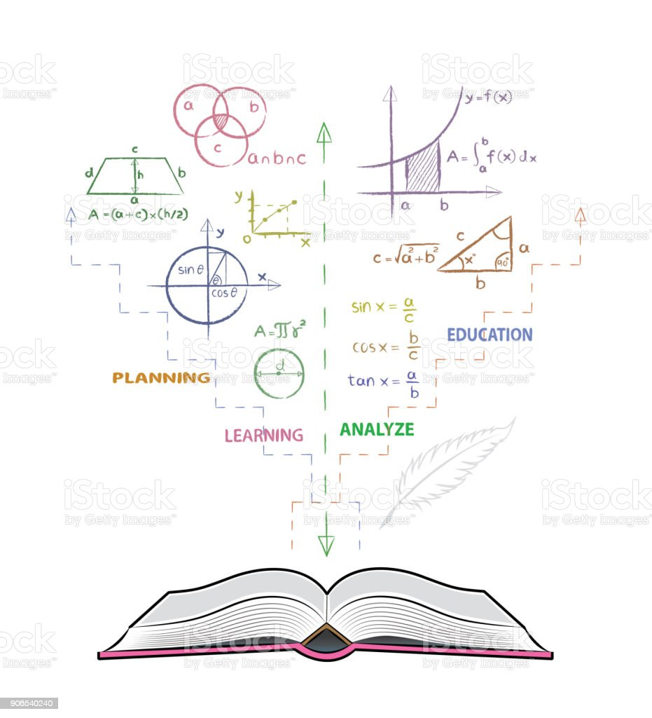 Open book and mathematical formulas. Drawing of mathematics on white board in doodle style. vector art illustration