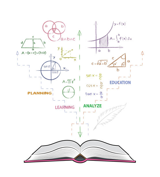 open book and mathematical formulas. drawing of mathematics on white board in doodle style. - math class stock illustrations, clip art, cartoons, & icons