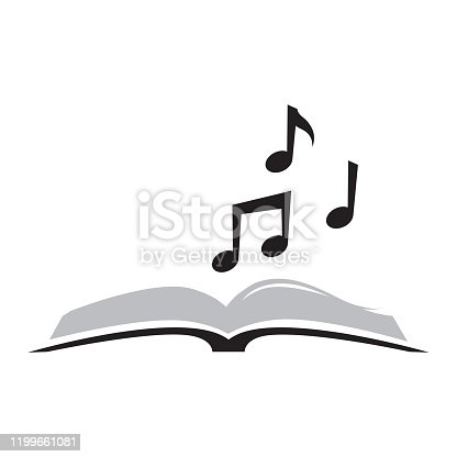 open book and musical notes, vector graphic design element